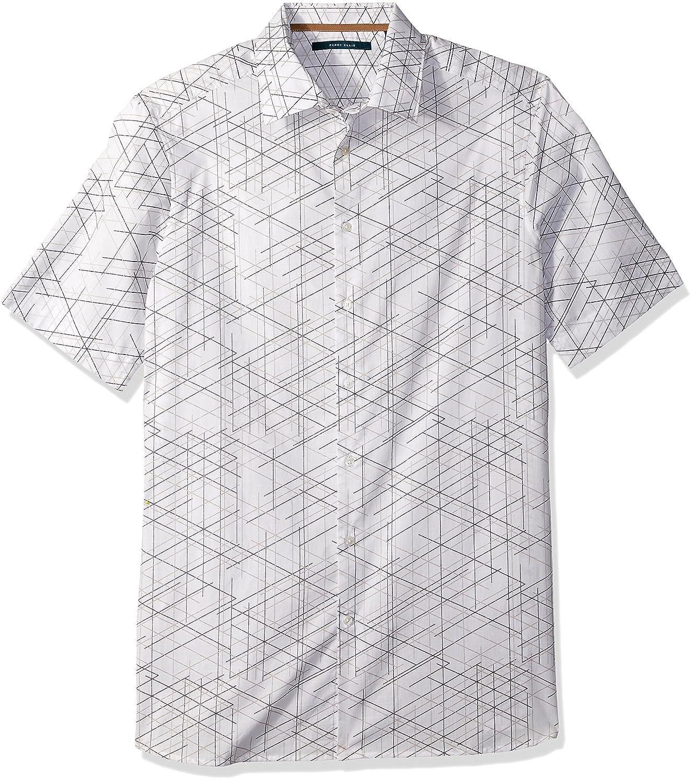 Perry Ellis Mens Short Sleeve Graphic Linear Print Shirt