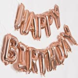 Rose Gold Happy Birthday Balloons Banner 16 InchMylar Foil LettersInflatable Birthday Party Decorations