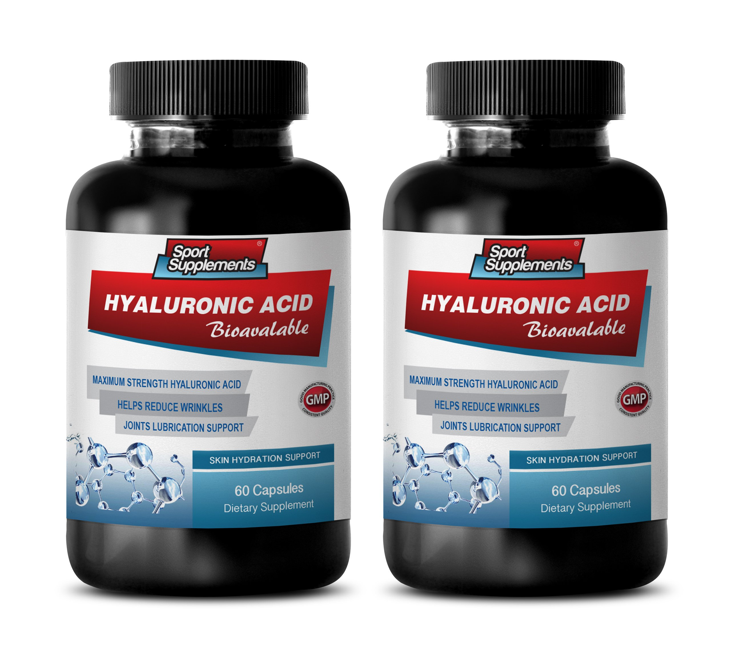 Anti Wrinkle Pills - HYALURONIC Acid BIO-Available - Skin Hydration Support - hyaluronic Acid Joint Support - 2 Bottles 120 Capsules