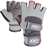 XXR Elite Pro Gel Weight Lifting Gloves Leather Gloves Fitness Strengthen Training Workout Gym Gloves Long Wrap Padded Palm Power Lifter Body Building Gloves XS-3XL