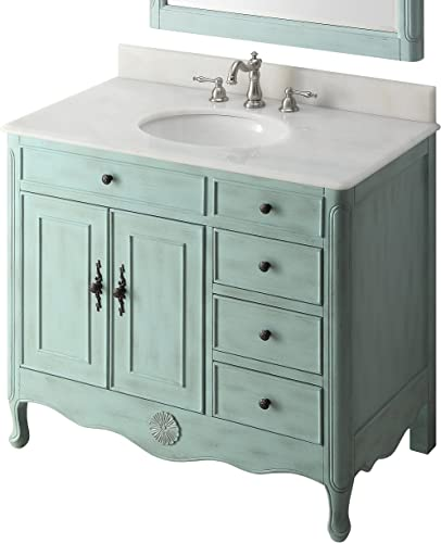 38″ Benton Collection Distressed Light Blue Daleville Bathroom Sink Vanity HF-837LB