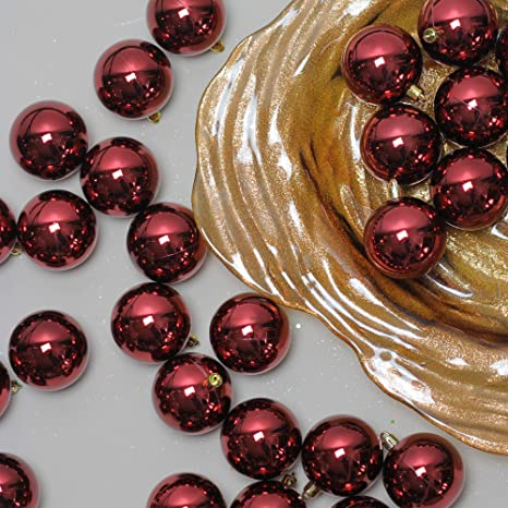 "60ct Burgundy Red Shatterproof Shiny Christmas Ball Ornaments 2.5"" ... - Amazon.com: 60ct Burgundy Red Shatterproof Shiny Christmas Ball"