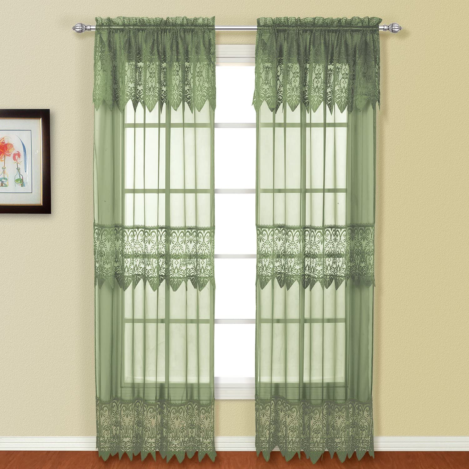 American Curtain and Home Patricia Window Curtain, 52-Inch by 84-Inch, Sage