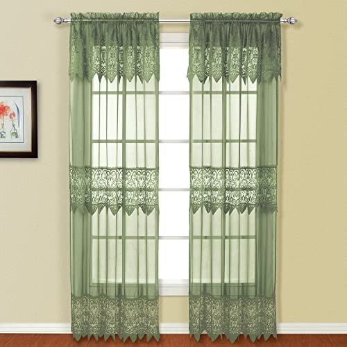 United Curtain Valerie Lace Sheer Window Curtain Panel