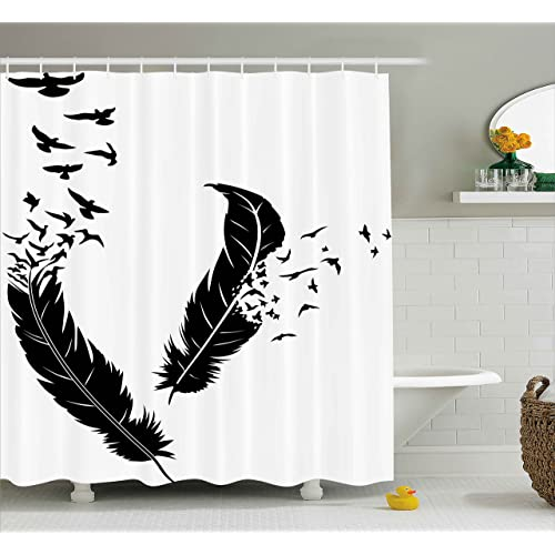 Ambesonne Animal Decor Shower Curtain By Illustration Of Feathers And Scattering Birds Decorations For Home