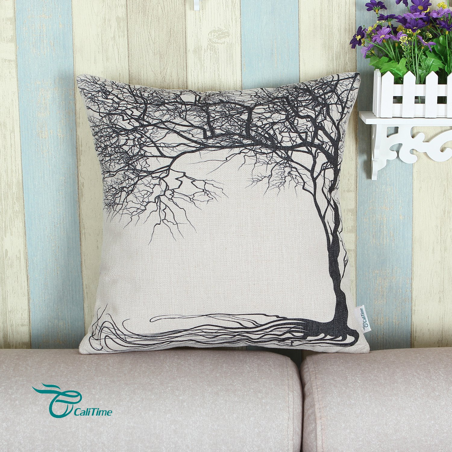 Calitime Canvas Bolster Pillow Cover Case For Couch Sofa Home Decoration Vintage Big Old Tree 12