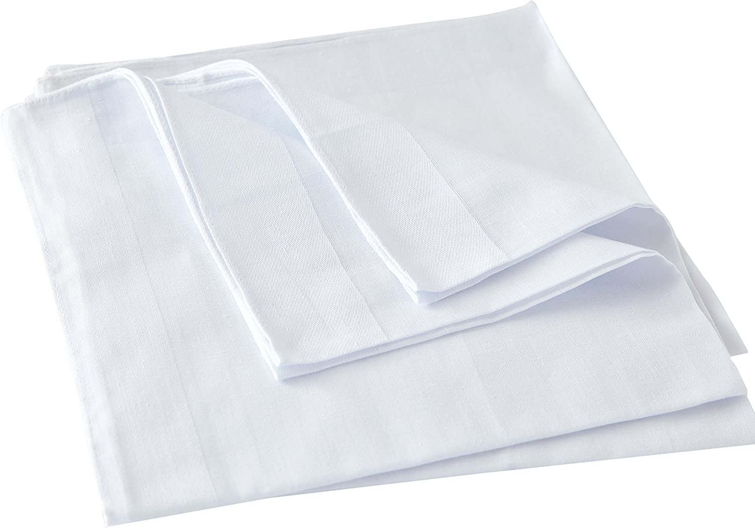 Mens White Handkerchiefs,100/% Soft Cotton Hankie