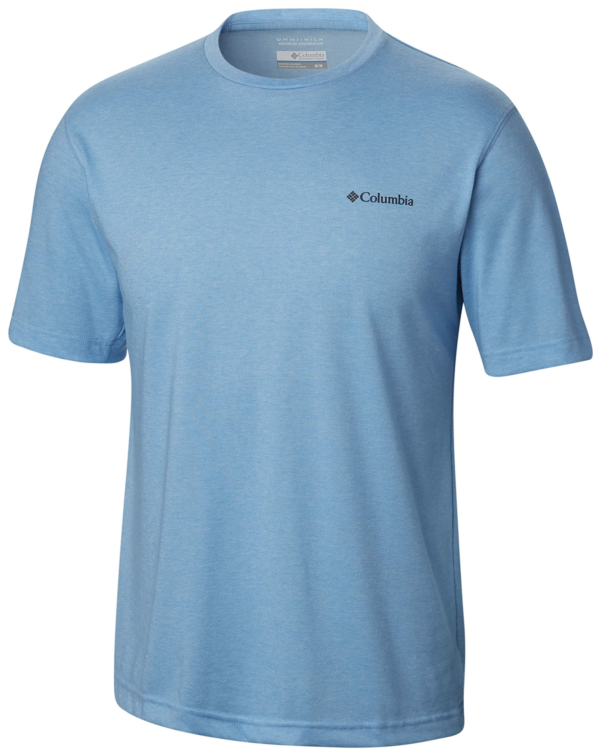 Columbia Men's Thistletown Park Crew, Sun Protection, Breathable, blue, Blue Sky Heather