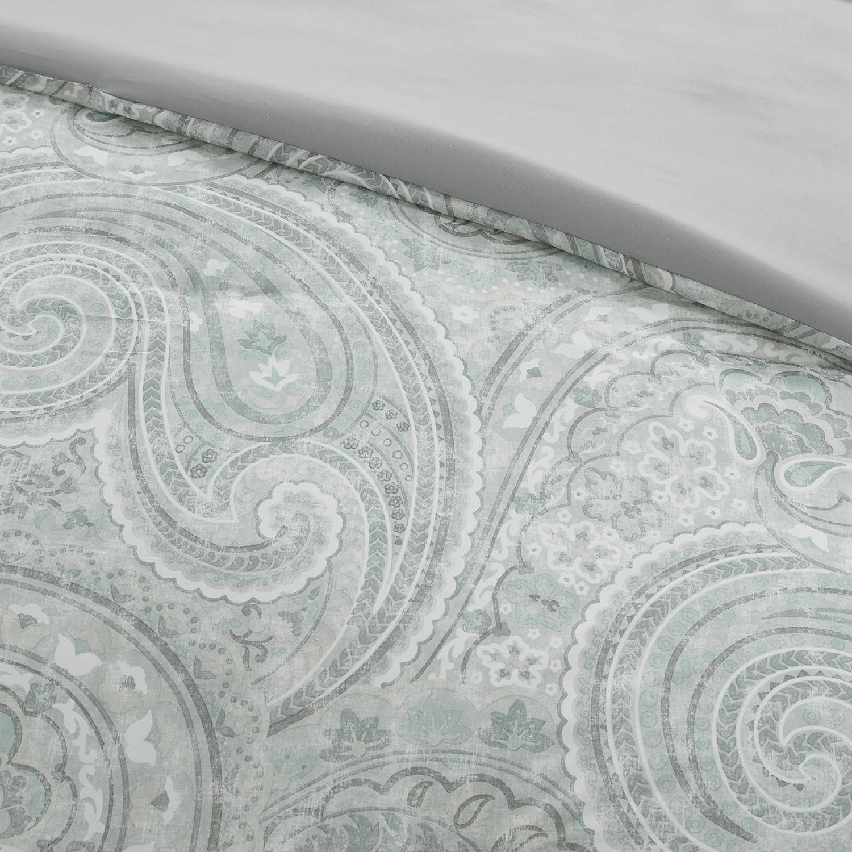 King 3 Piece 2 Standard Shams Paisley Pattern Blue Comfort Spaces Kashmir Mini Duvet Cover Set Includes 1 Duvet Cover Grey