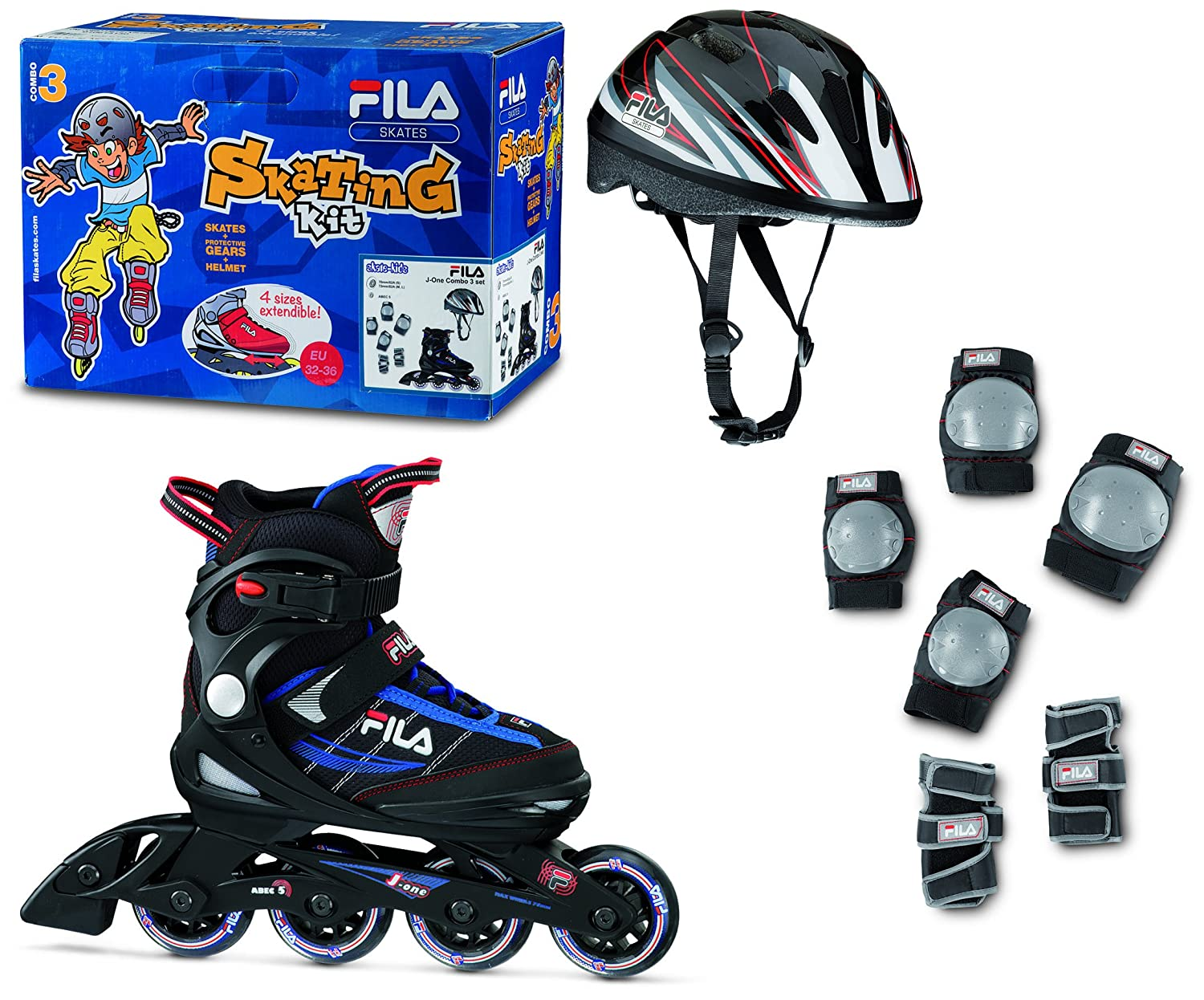 FILA SKATES Patines en Línea J-One Combo 3 Set Black Blue Red Negro/Azul / Rojo EU 36/40 010616150 010616150_BLK/BLUE/RED-L