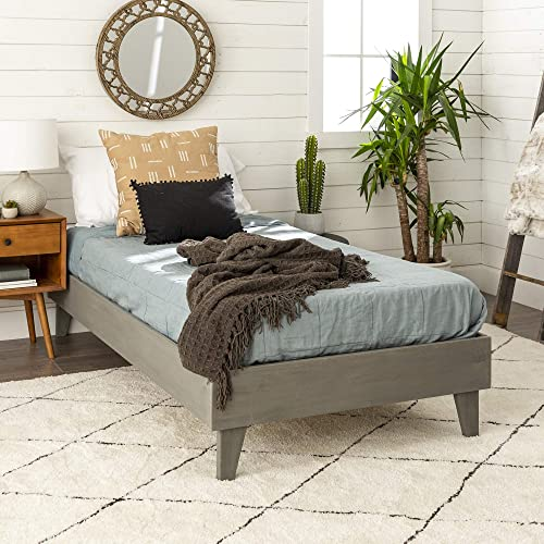 Walker Edison Furniture Company Mid Century Modern Wood Twin Platform Bed Frame Bedroom