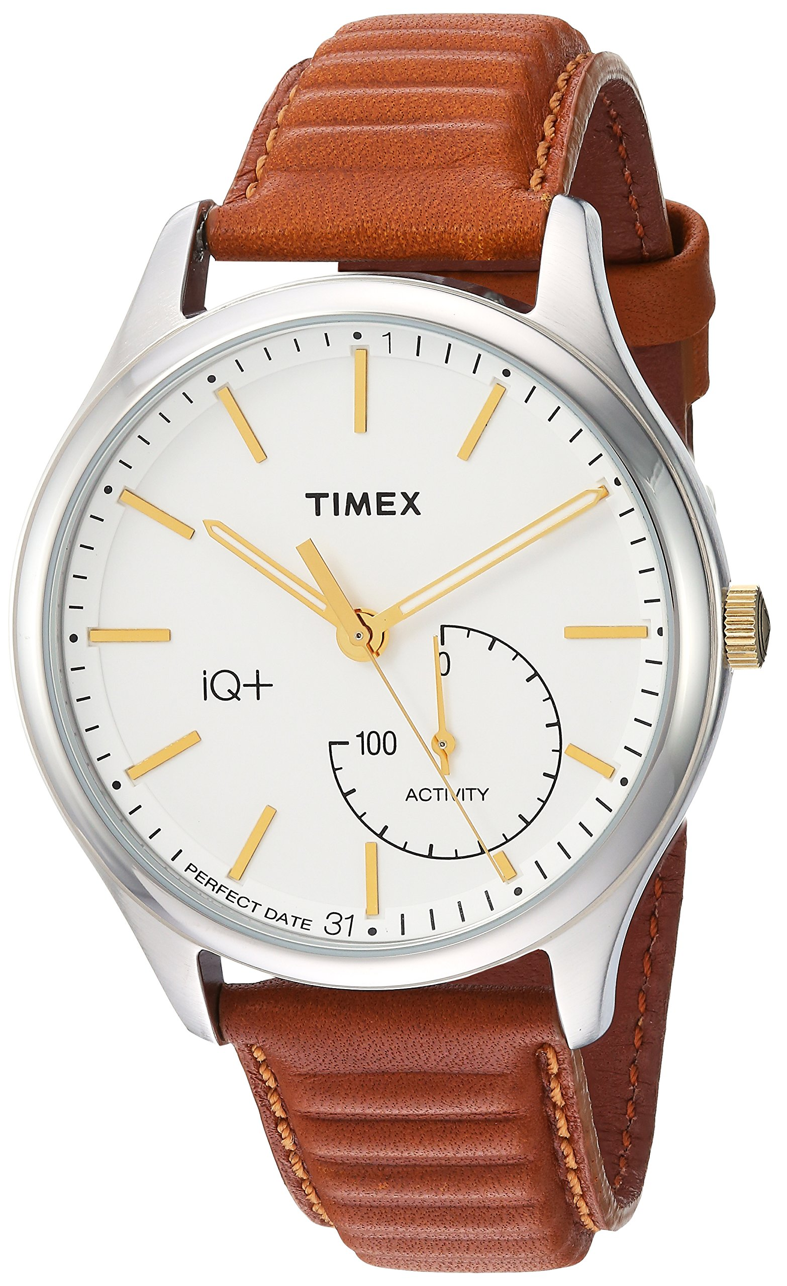 Timex Men's TW2P94700 IQ+ Move Activity Tracker Caramel Brown Leather Strap Smart Watch
