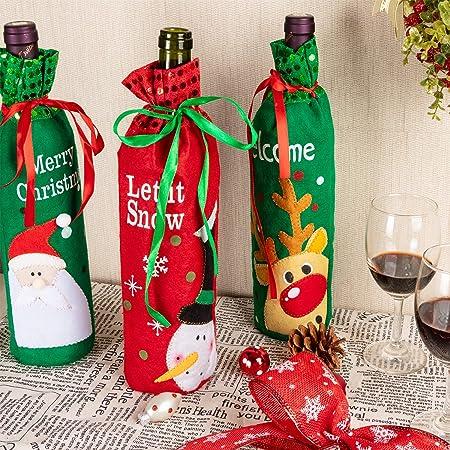Art Beauty Adornos de Navidad Cubierta de la botella de vino Elfos Elf Decoraciones Mesa Centro Champagne Bolsas de regalo (juego de 3): Amazon.es: Hogar