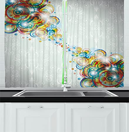abstract decor kitchen curtains by ambesonne modern rainbow like