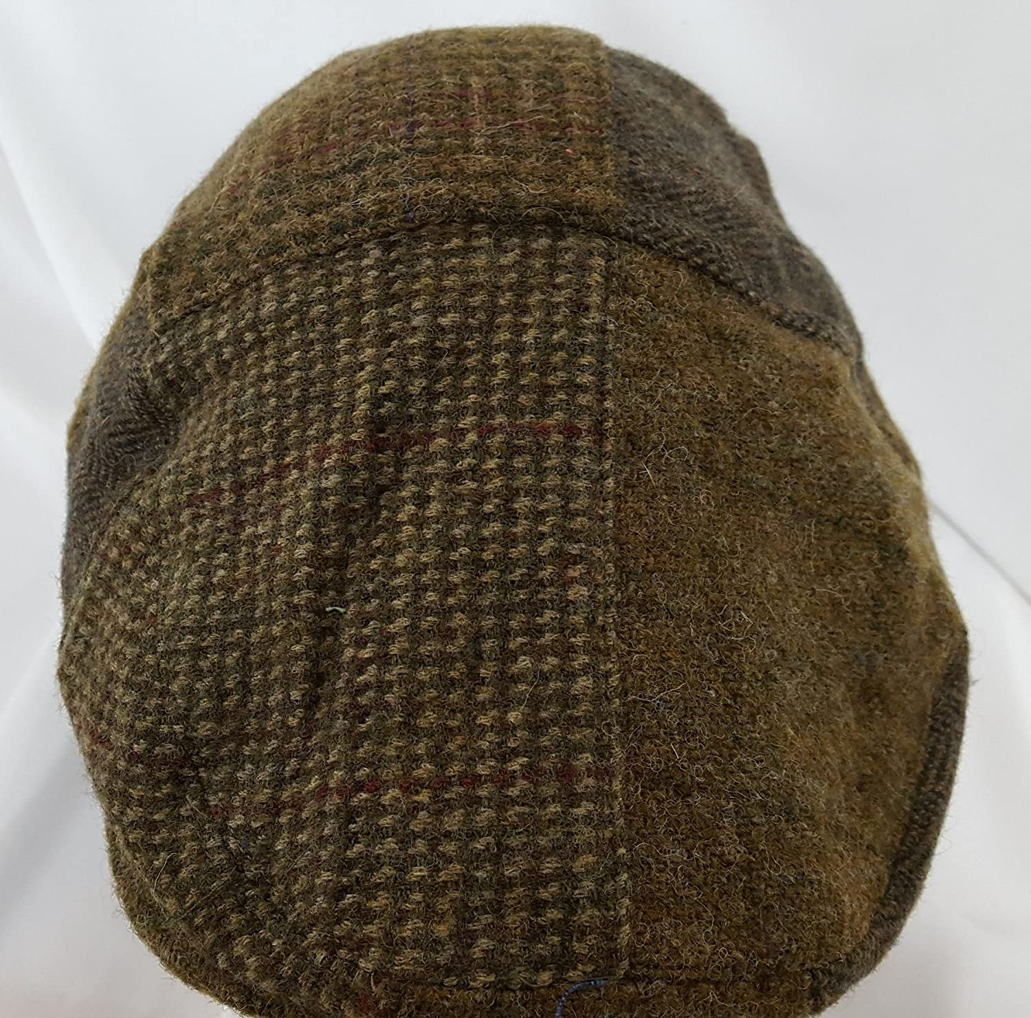 9aab65914 Ralph Lauren L XL Herringbone Check Tweed Mix Khaki Brown Flat Cap Polo  Leather Strap  Amazon.co.uk  Clothing
