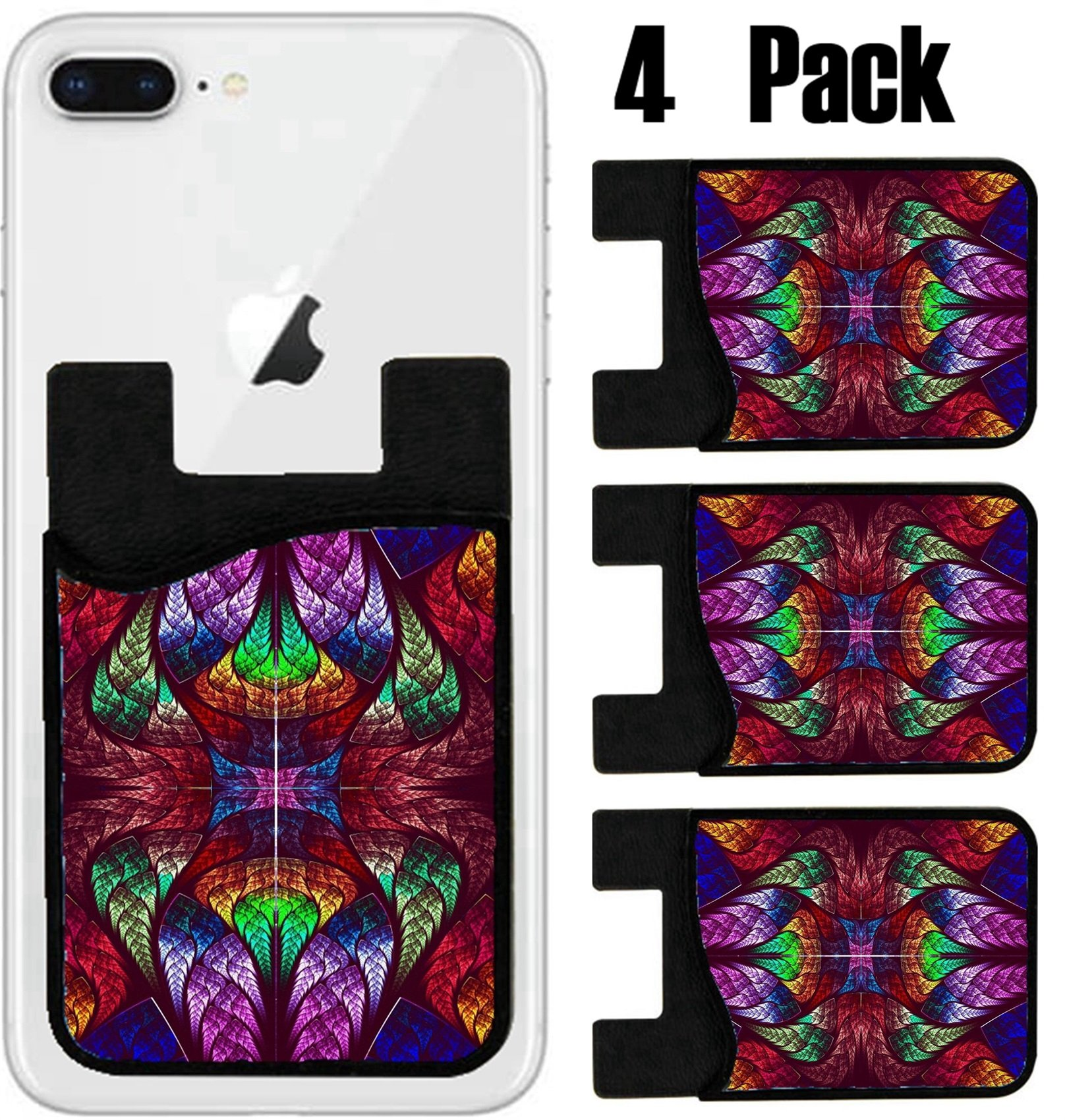MSD Phone Card holder, sleeve/wallet for iPhone Samsung Android and all smartphones with removable microfiber screen cleaner Silicone card Caddy(4 Pack) Multicolor beautiful fractal pattern Computer g
