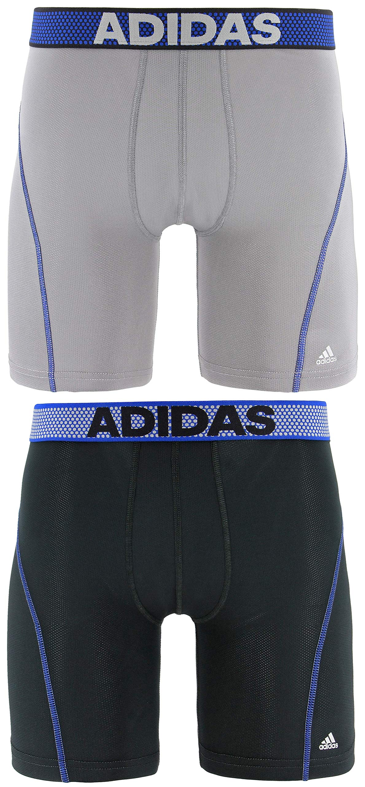 adidas Men's Sport Performance Mesh Midway Underwear (2-Pack), Light Onix/Blue Night Grey/Light Onix/Blue, X-LARGE by adidas