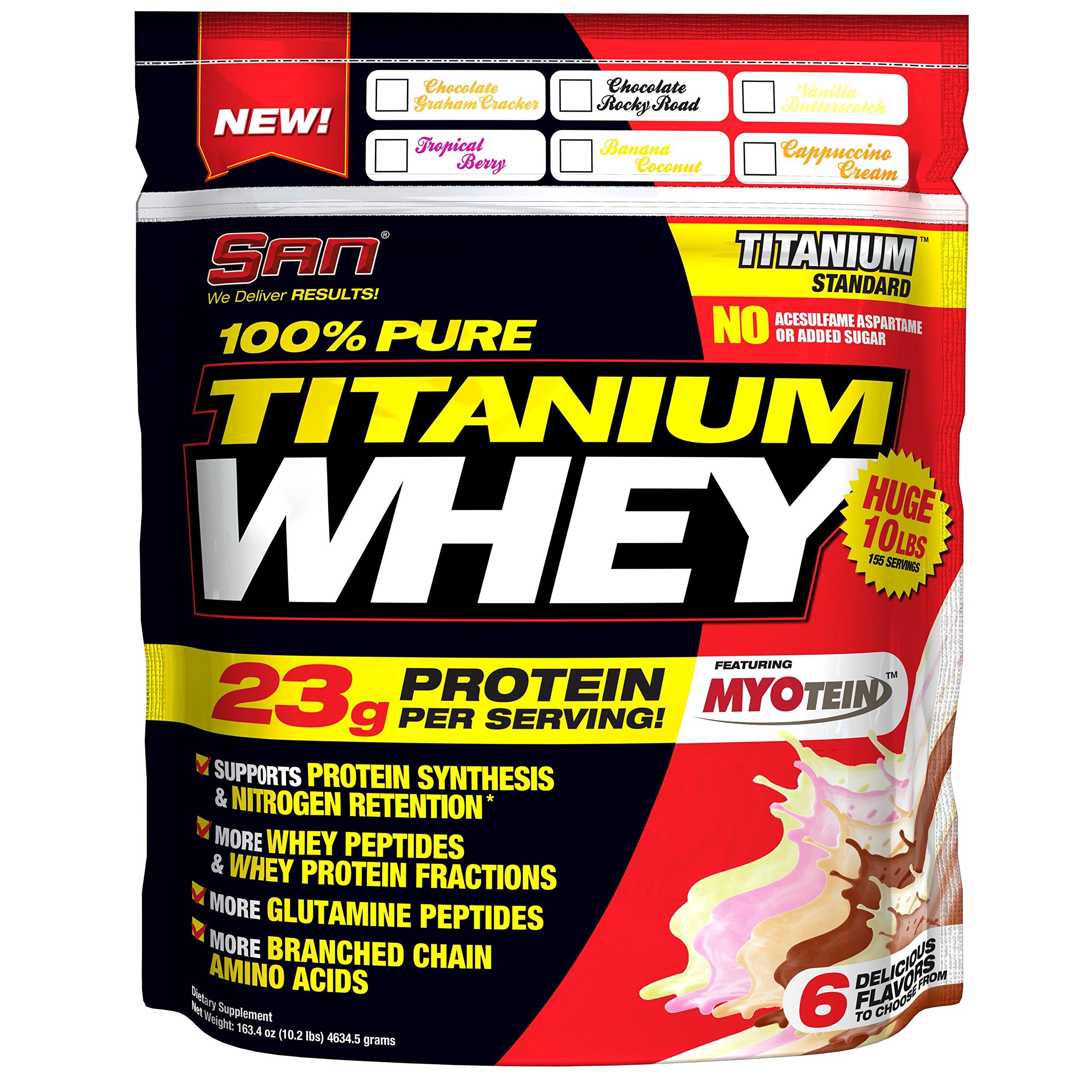 SAN Nutrition 100% Pure Titanium Whey Protein Powder, Chocolate Rocky Road, 10 Pounds