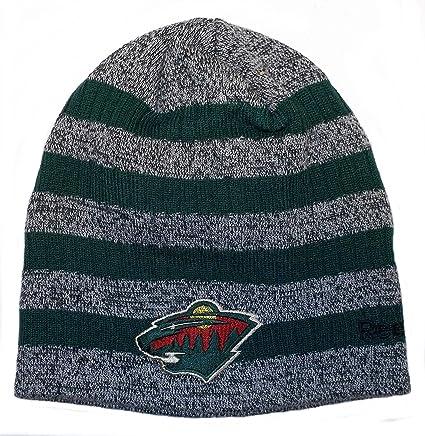 0da9fe205c6 Amazon.com   Minnesota Wild Striped Reebok Knit Hat - Osfa - KX13Z   Sports    Outdoors