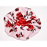 HANDCRAFTED RED Reversible Kids and toddlers SATIN BONNETs are lined with DISNEY MINNIE MOUSE Fabric (MADE IN USA) (KIDS MINNIE MOUSE, RED)