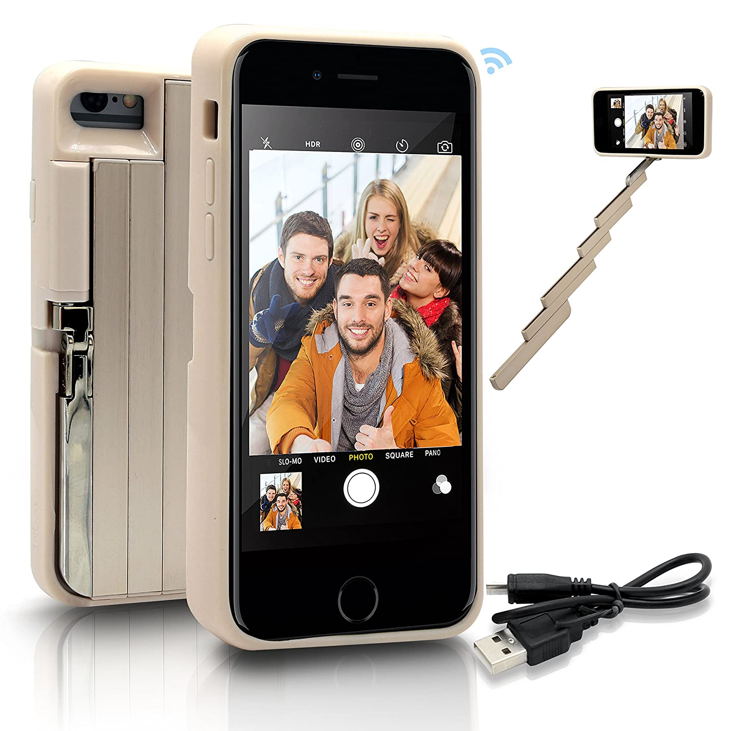 """StikBox Selfie Stick iPhone Case, Extendable Monopod W/Built-in Bluetooth Trigger, Lightweight, Rechargeable, Wireless, Pocket Size, 360 Degree Rotation & 20"""" Extension for iPhone 7/7S/8 (IPE7GOLD)"""