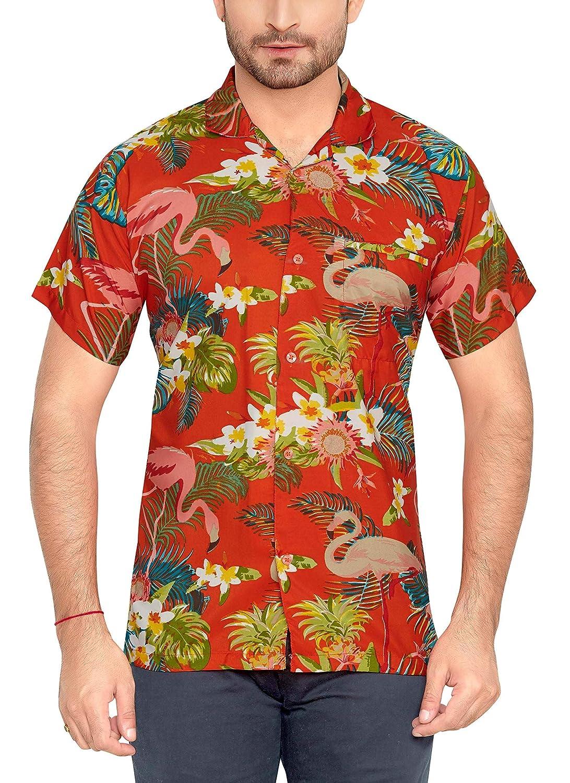 TALLA S. CLUB CUBANA Camisa Hawaiana Florar Casual Manga Corta Ajuste Regular para Hombre