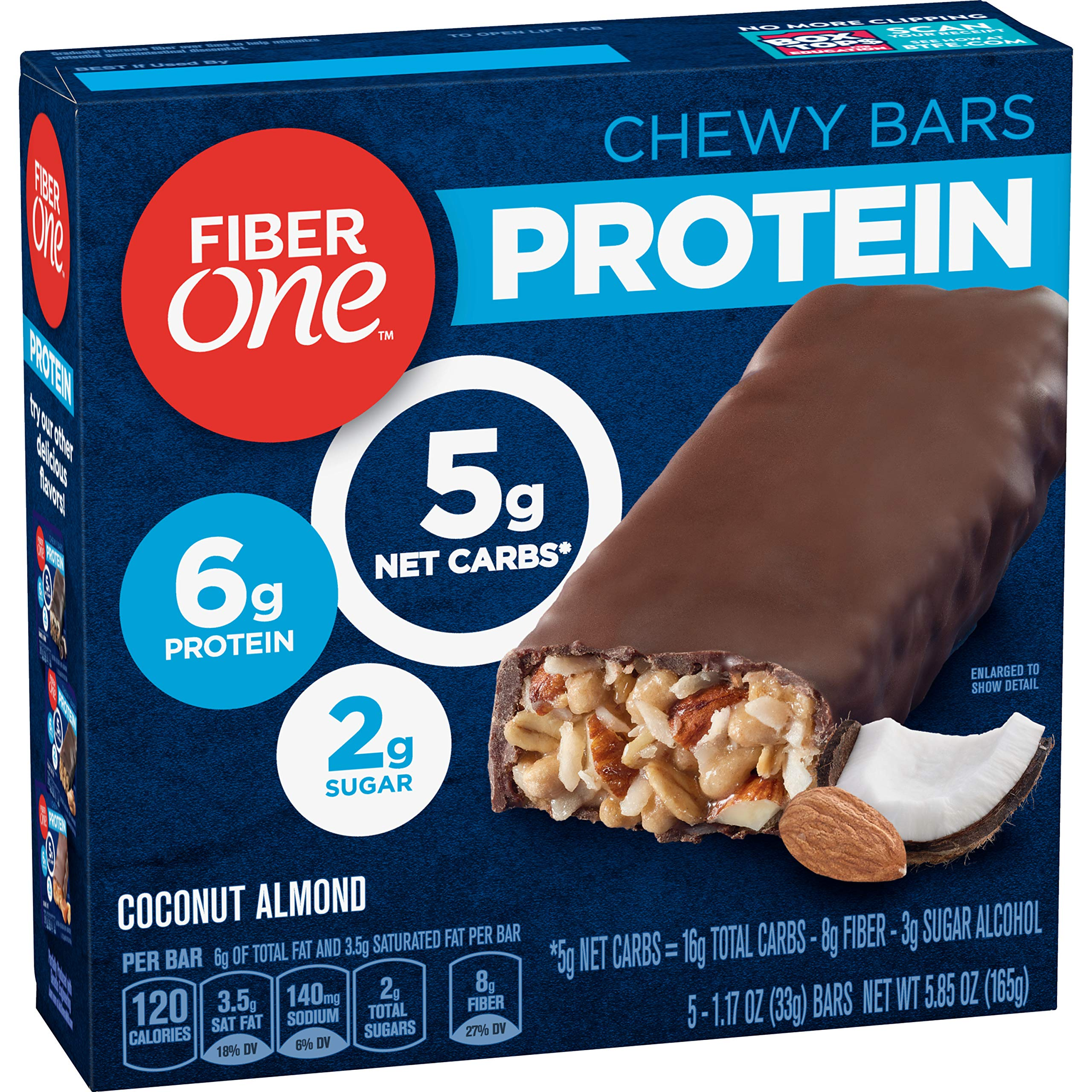 Fiber One Protein Bar, Coconut Almond Chewy Bars, 5 Count Fiber Bars,Pack of 6 by Fiber One