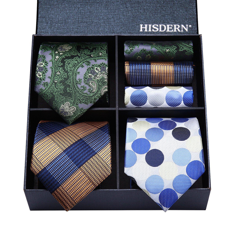 HISDERN Lot 3 PCS Classic Men's Silk Tie Set Necktie & Pocket Square - Multiple Sets TA30S2
