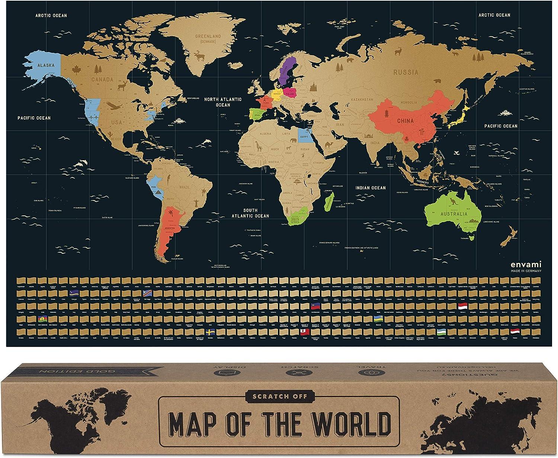envami Mapa Mundi Rascar I Mapas del Mundo para Marcar Viajes I 68 X 43 CM I Oro I Scratch Off Travel Map