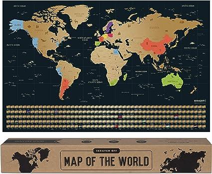 Cartina Mondo Gratta.Envami Mappa Del Mondo Da Grattare I 68 X 43 Cm I Idee Regalo I Mappamondo