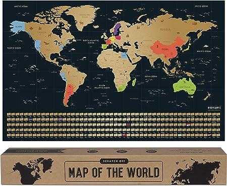 envami Mapa Mundi Rascar I Mapas del Mundo para Marcar Viajes I 68 X 43 CM I Oro I Scratch Off Travel Map: Amazon.es: Hogar