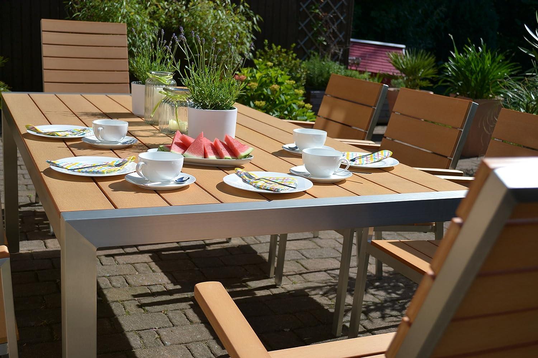 Amazon.de: Gartenmöbel Miami Tisch 200x100 + 6 Stapelstühle und 2