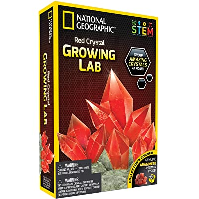 NATIONAL GEOGRAPHIC Red Crystal Growing Lab – DIY Crystal Creation - Includes Real Aragonite Crystal Specimen: Toys & Games