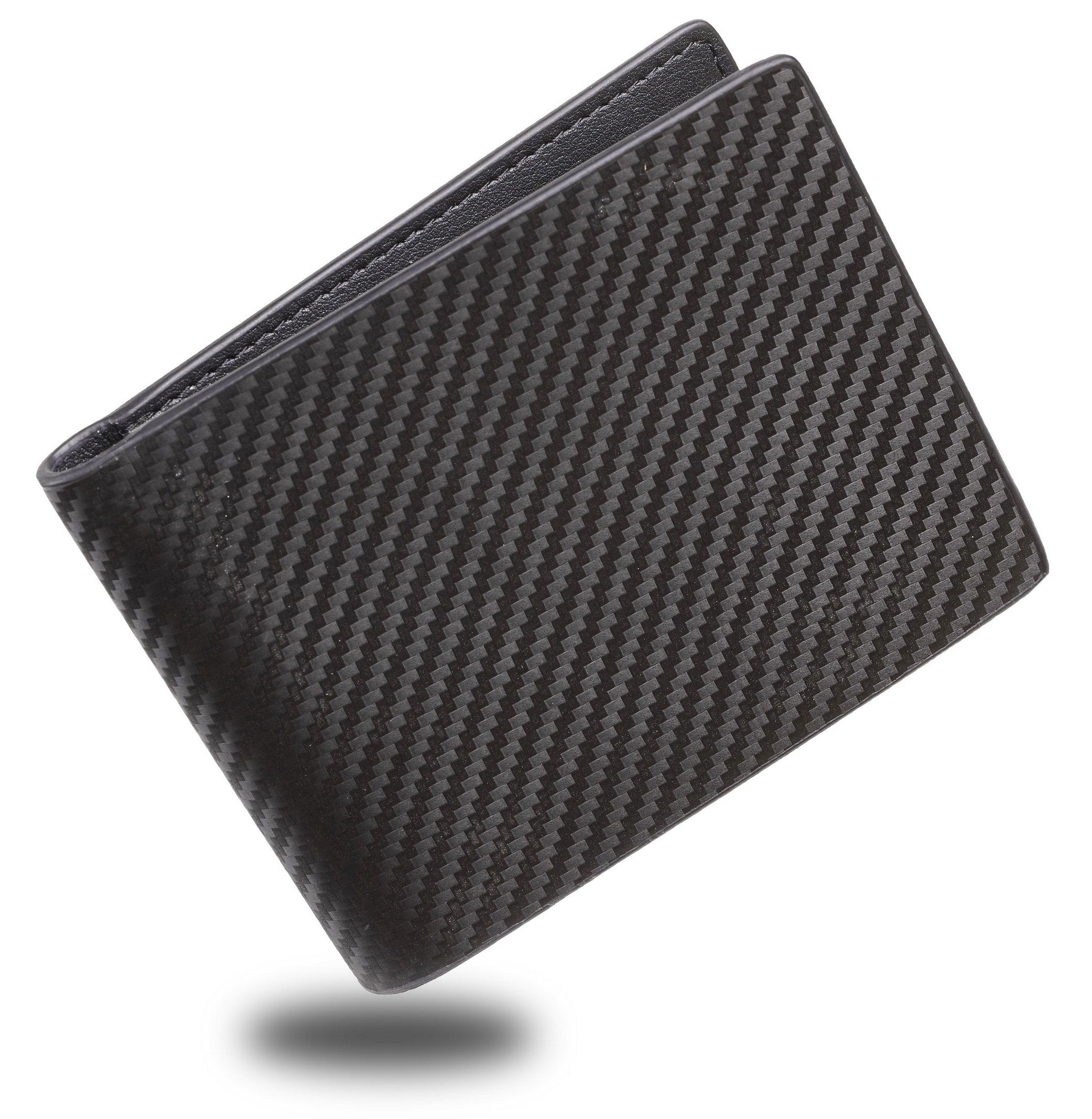 Travelambo Genuine Leather RFID Blocking Wallets Mens Wallet Bifold Classic (ID bifold Carbon Fiber Black)