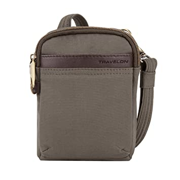 dd9c0fd05a Amazon.com  Travelon Anti-Theft Courier Mini Crossbody Cross Body Bag Stone  Gray One Size