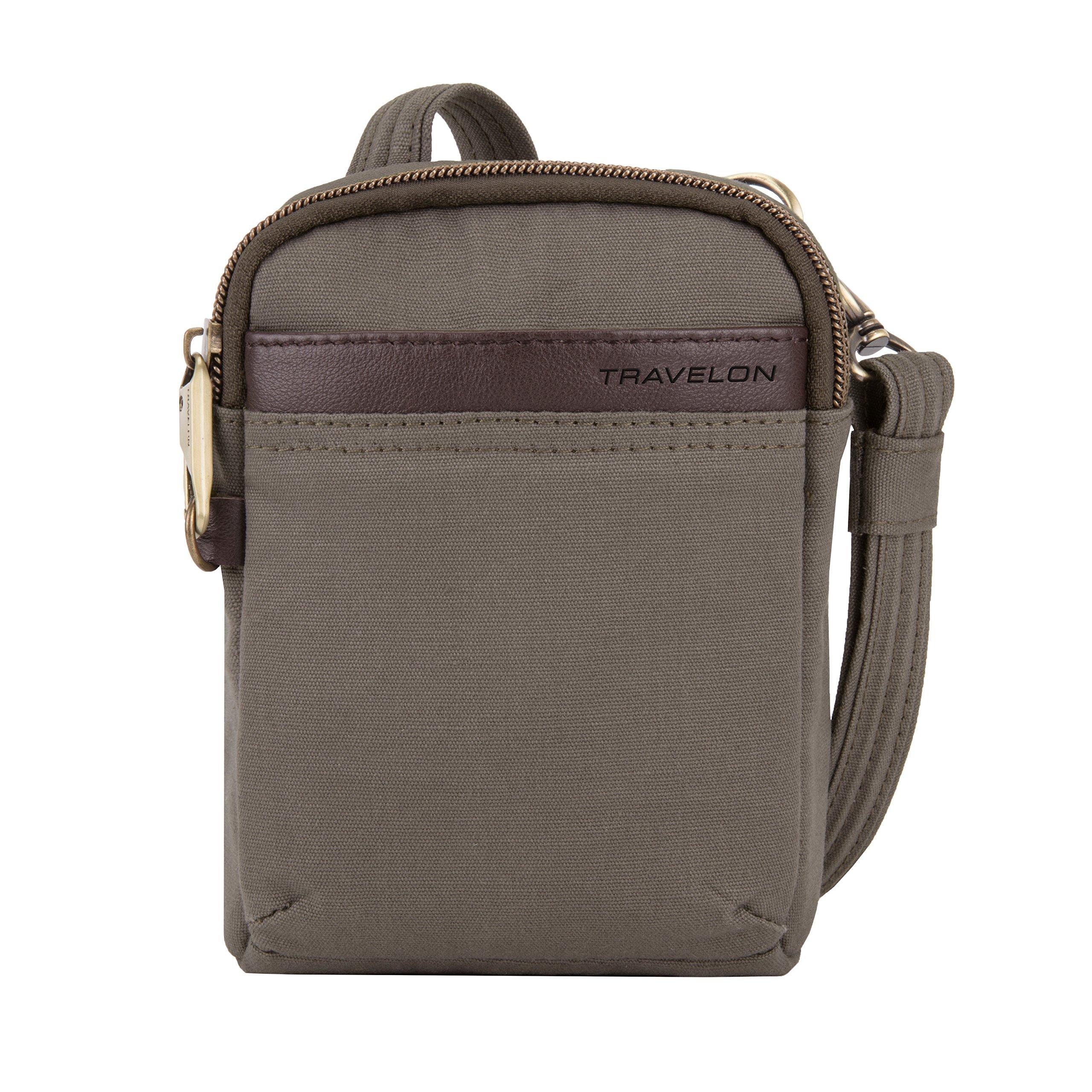 Travelon Anti-Theft Courier Mini Crossbody Cross Body Bag, Stone Gray, One Size