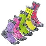 YUEDGE 5 Packs Women's Antiskid Wicking Outdoor Multi Performance Hiking Cushion Socks, Assort Colors
