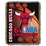 "Officially Licensed NBA Chicago Bulls Commemorative Woven Tapestry Throw Blanket, 48"" x 60"", Multi Color"
