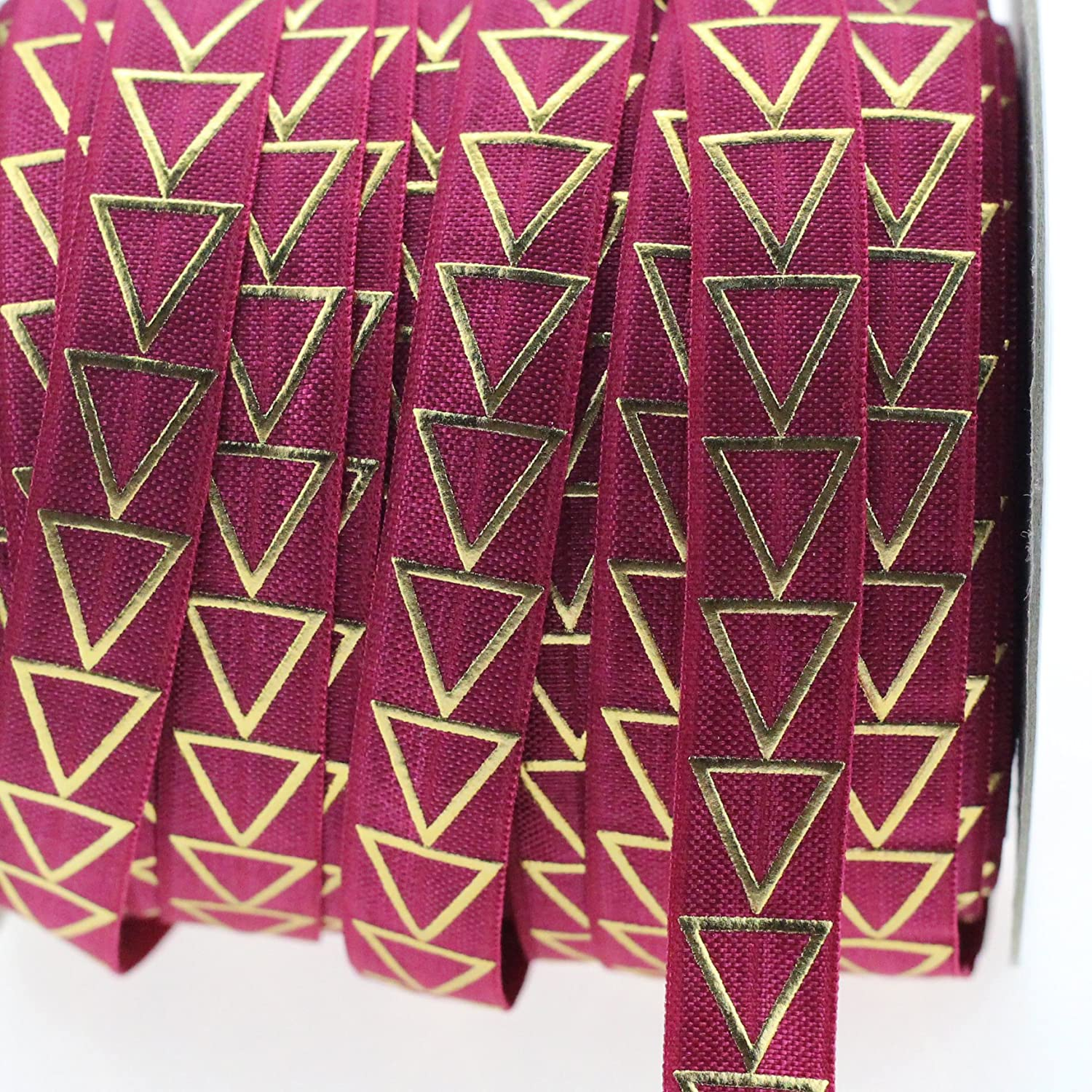 Midi Ribbon Stretch Gold Triangle Printed Fold Over Elastic Band 5/8 X 10 Yards/Pack-Color Daffodil-Handmade Hair Tie Headband Ponytail Holder Sewing Supplies