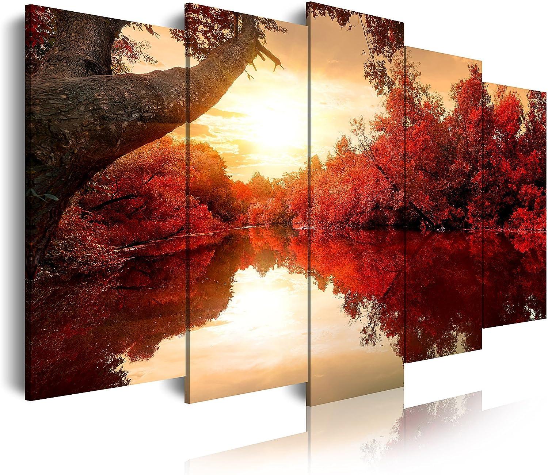DekoArte - Cuadros Modernos Impresión de Imagen Artística Digitalizada | Lienzo Decorativo Para Tu Salón o Dormitorio | Estilo Naturaleza Paisaje Con Agua Arboles Rojos | 5 Piezas 150 x 80 cm