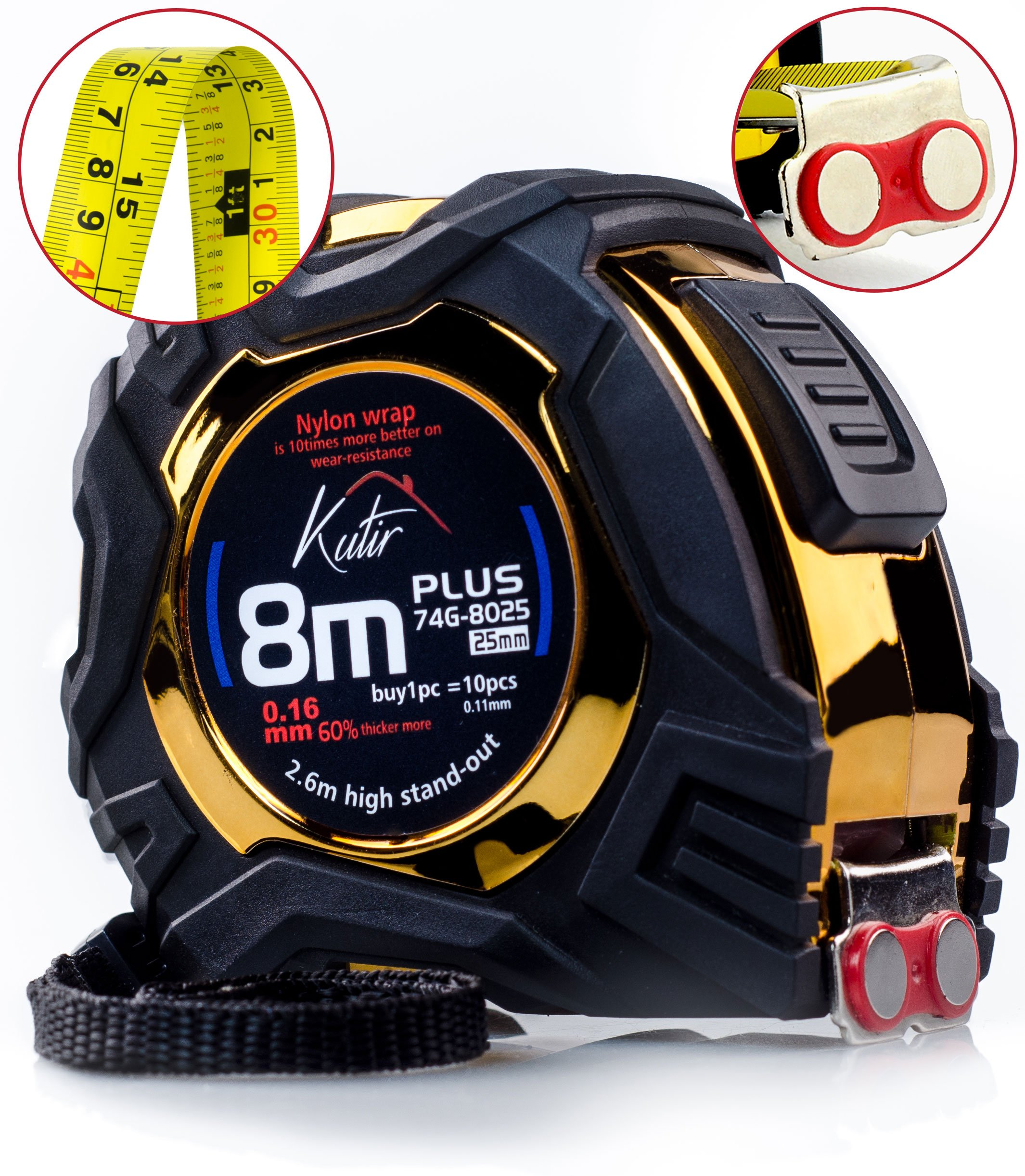 Measuring Tape Measure By Kutir - EASY TO READ 27 Foot BOTH SIDE DUAL RULER, Retractable, AUTO LOCK, Heavy Duty, MAGNETIC HOOK, Metric, Inches, Imperial Measurement, SHOCK ABSORBENT Solid Rubber Case