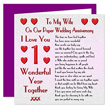 My wife 1st wedding anniversary card on our paper anniversary 1 my wife 1st wedding anniversary card on our paper anniversary 1 year sentimental m4hsunfo