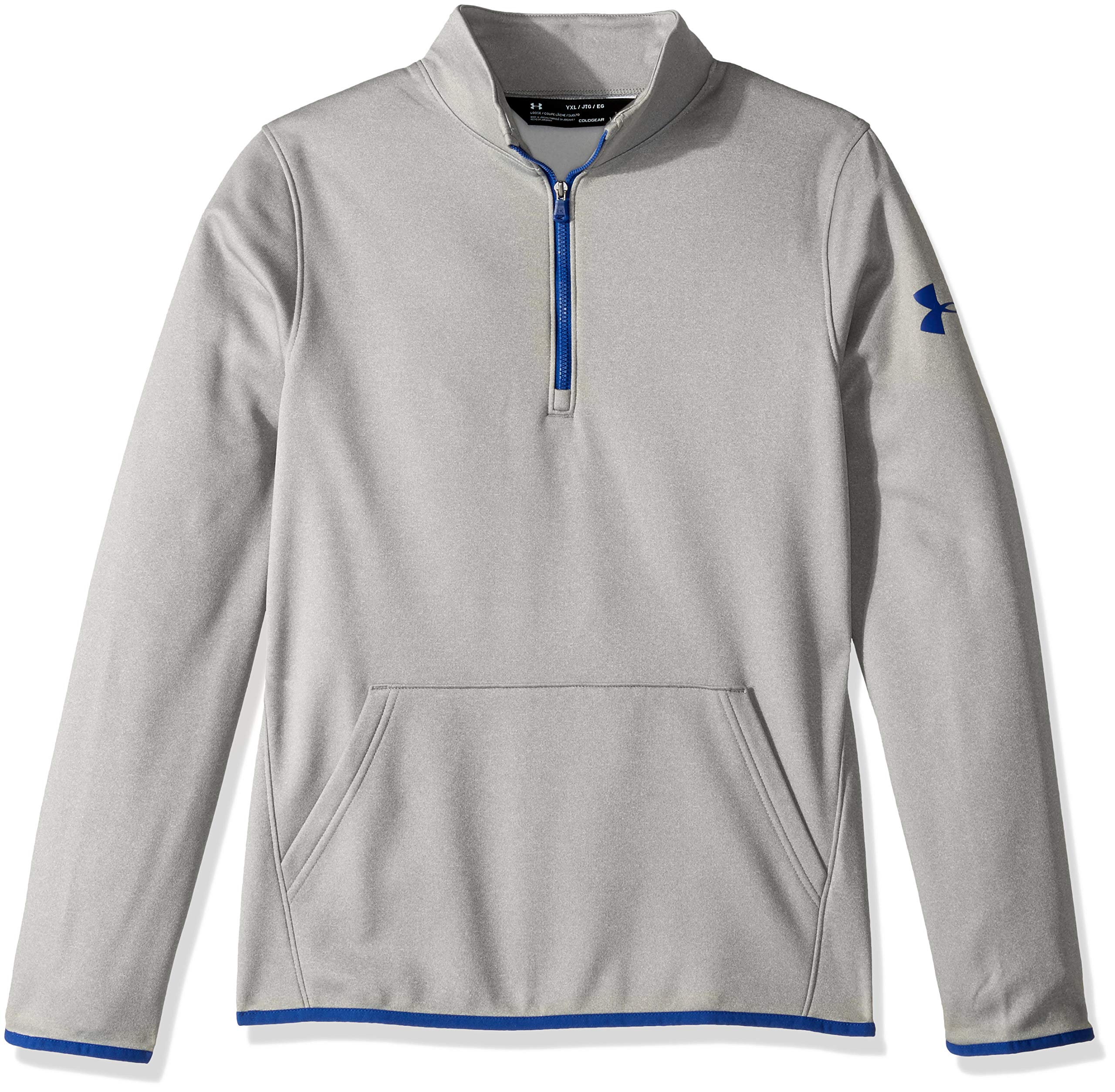Under Armour Boys Armour Fleece 1/2 Zip, Steel Light Heather (035)/Royal, Youth X-Small by Under Armour