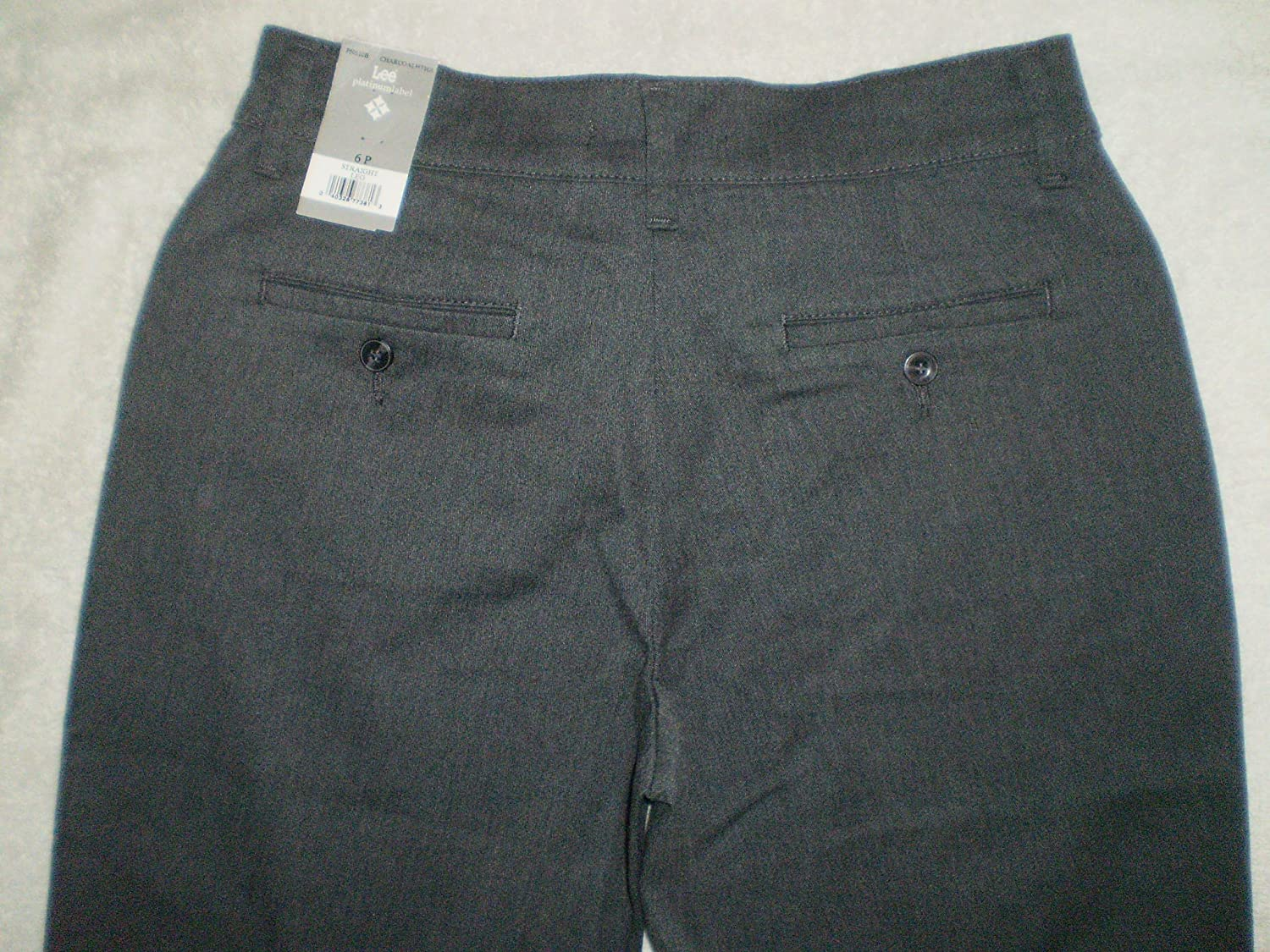 Lee Relaxed At Waist Straight Womens Stretch Charcoal Gray Pant Size 6P X 28 New
