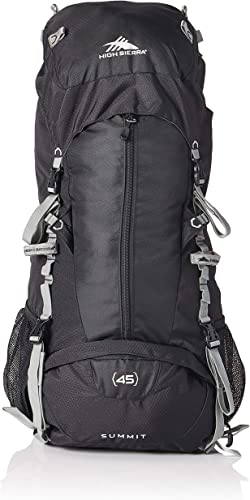 High Sierra Summit Top Load Internal Frame Pack, Black Black Silver, 45L