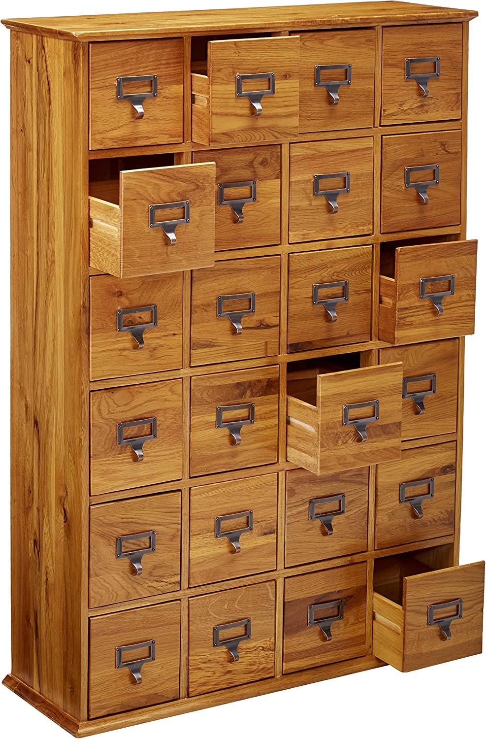 Leslie Dame Cd 456solid Oak Library Card File Media Cabinet 24