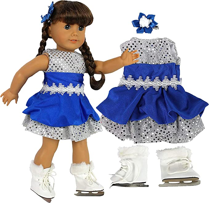 Light Blue Fur Trim Figure Ice Skates for American Girl Doll Clothes Molly
