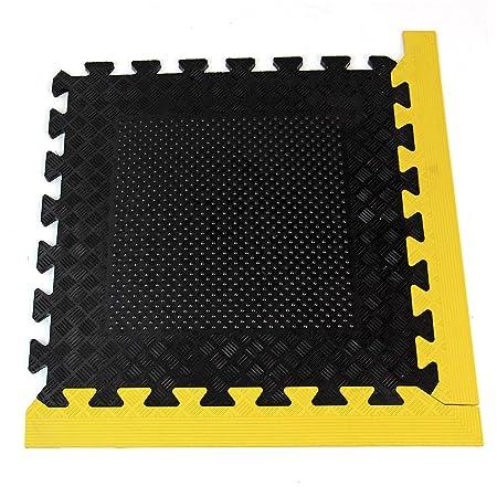 Heavy duty rubber interlocking gym or garage mats and edging edge
