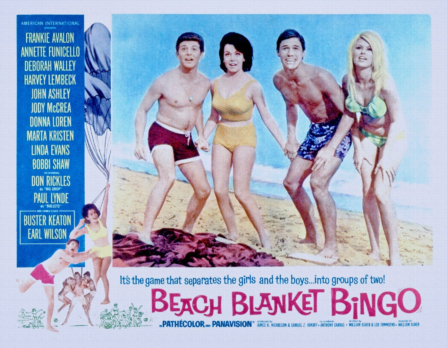 Odsan Gallery Beach Blanket Bingo, Frankie Avalon, Annette Funicello, Mike Nader, 1965 - Premium Movie Poster Reprint 36'' by 28'' Unframed