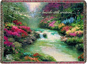 Manual Thomas Kinkade 50 x 60-Inch Tapestry Throw with Verse, Beside Still Waters